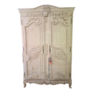 Vintage White Crackle Finish Carved Entertainment Armoire