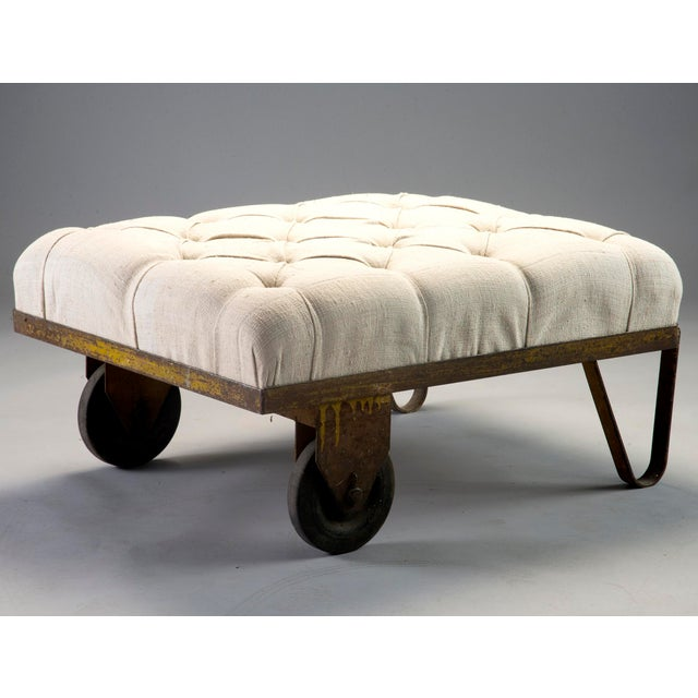 1930s Tufted Ottoman Bench Stool with Industrial Wheelbarrow Base For Sale - Image 12 of 13