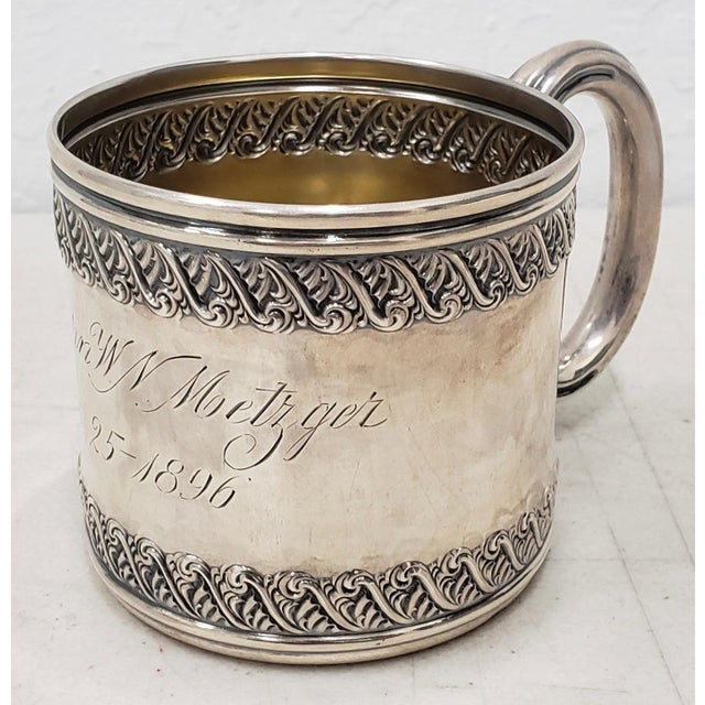 American Late 19th Century Sterling Silver Christening Cup C.1896 For Sale - Image 3 of 8