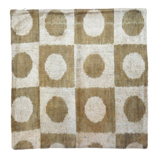 Brown Silk Velvet Accent Pillow With Checkered Pattern