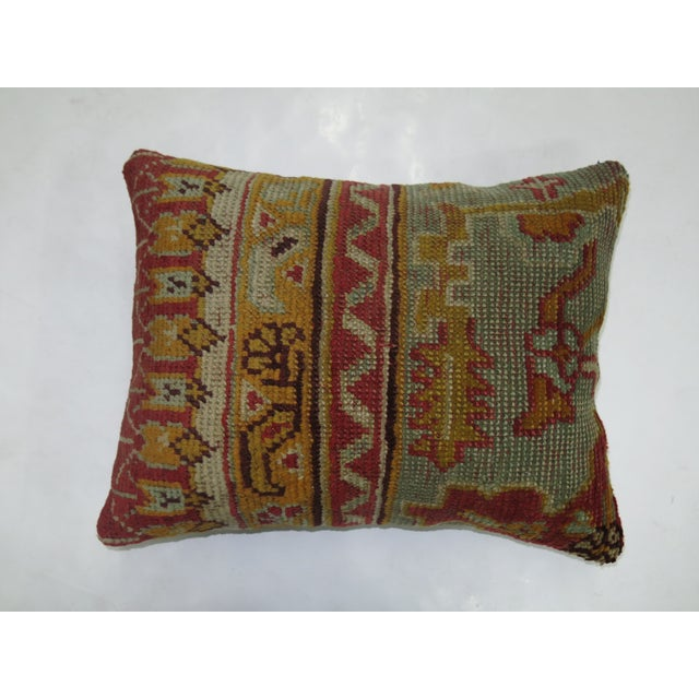 American Turkish Oushak Rug Pillow For Sale - Image 3 of 3