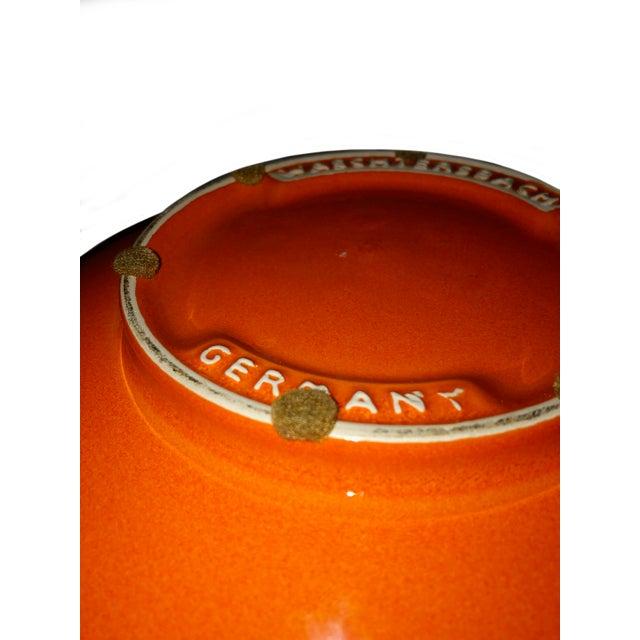 Vintage West German Pottery Orange Bowl For Sale - Image 4 of 5