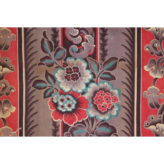 Early 19th Century Antique French Fabric Rare Purple Red & Blue Madder Tones 1830 Roller Printed For Sale - Image 5 of 13