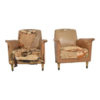Set of Two Octavio Vidales Distressed Leather Chairs for Muebles Johrvy For Sale