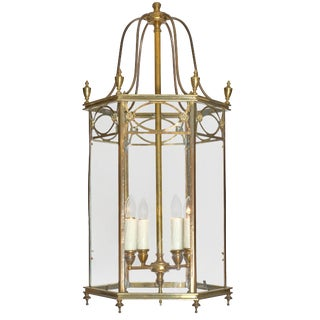 Art Deco Period Brass and Glass Lantern For Sale