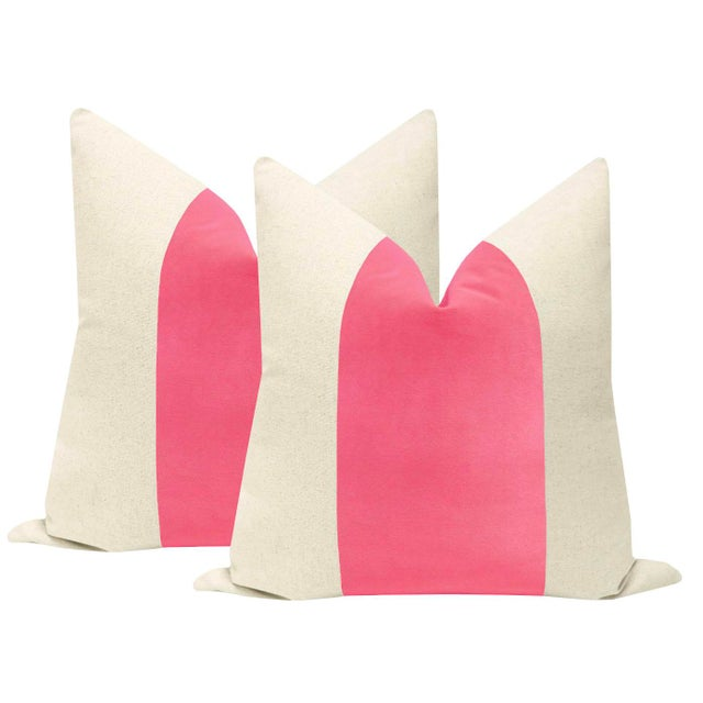 "22"" Rosé Pink Velvet Panel & Linen Pillows - a Pair For Sale - Image 6 of 6"