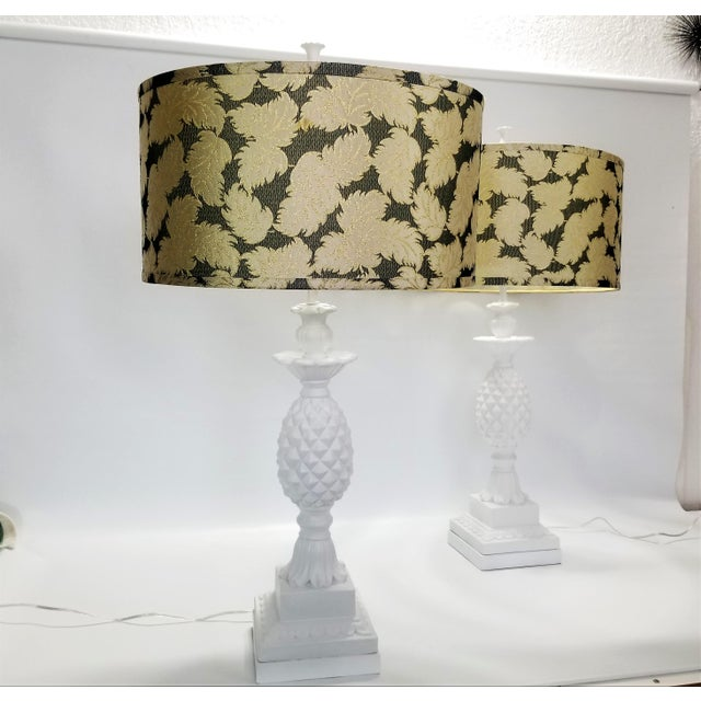 1950s Huge Pair of Pineapple Table Lamps - Restored - Solid Plaster Wood Base - Mid Century Modern Hollywood Regency Palm Beach Chic - Signed and Dated 1957 For Sale - Image 5 of 12