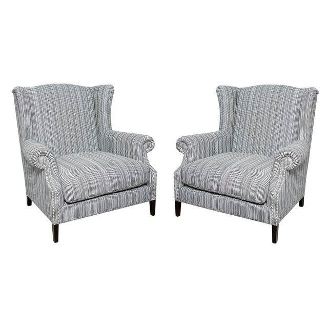 Studded Pinstripe Wingback Chairs - a Pair For Sale