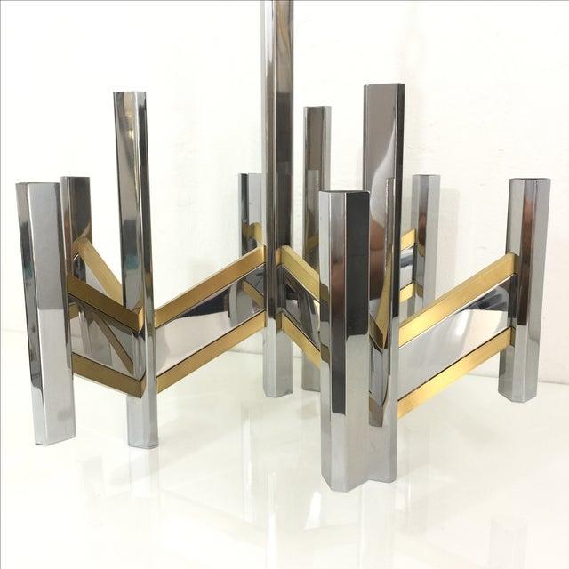 Sciolari Brass and Chrome 12 Bulb Chandelier - Image 4 of 10