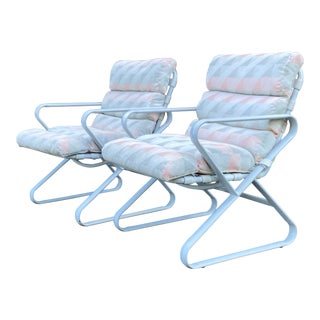 1980s Mallin Aluminum Patio Chairs - a Pair (B) For Sale