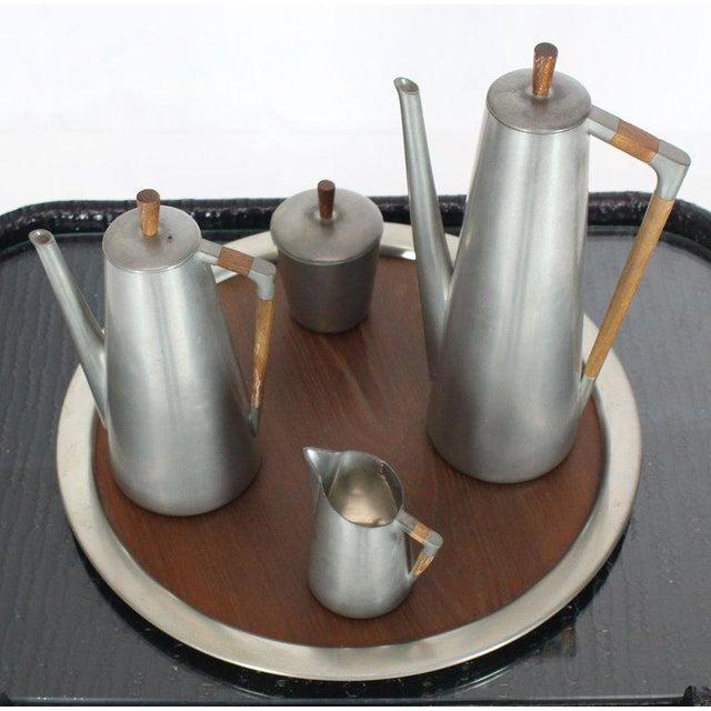 """Mid-Century Modern pewter and cerused teak coffee tea set. Measures: Large 16"""" diameter tray."""