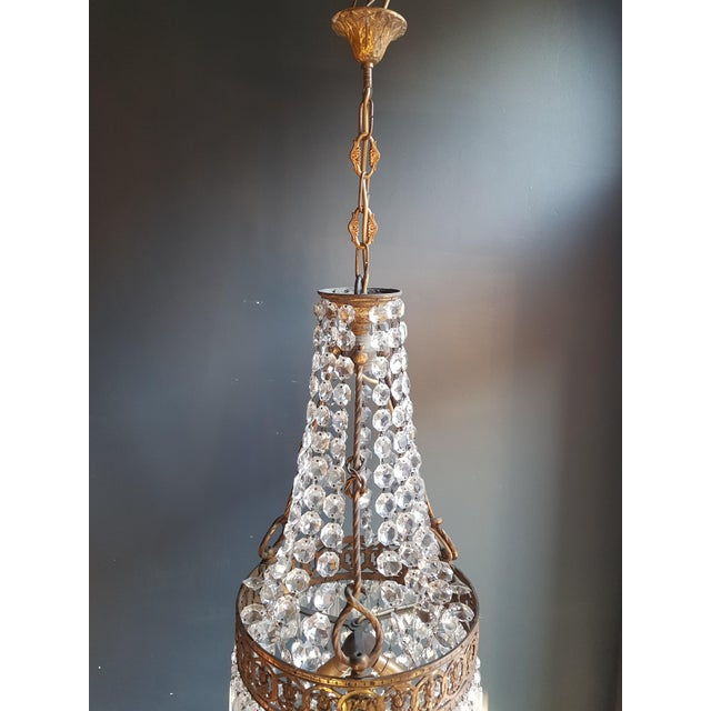 Basket Chandelier Brass Empire Crystal Lustre Ceiling Lamp Antique Art Nouveau Measures: Total height: 110 cm, height...