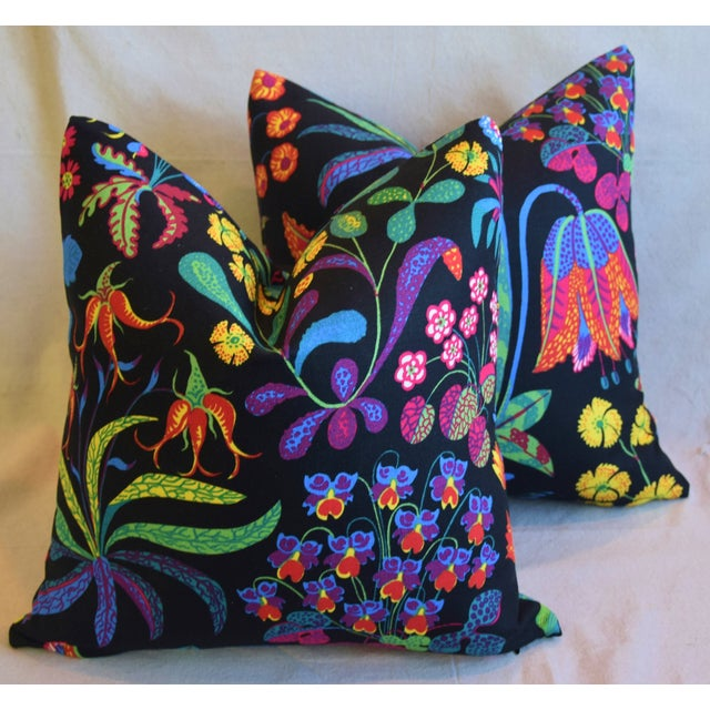 "Designer Josef Frank ""Under Ekatorn"" Floral Linen Feather/Down Pillows 18"" Square - Pair For Sale - Image 10 of 11"