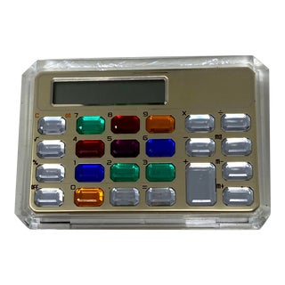 Vintage Beveled Lucite & Gemstone Office Desk Calculator For Sale