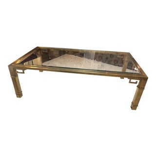 Mastercraft Brass and Bevelled Glass Rectangular Coffee Table For Sale