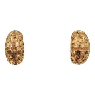 1980s Grosse Goldtone Harlequin Design Half Hoop Earrings For Sale