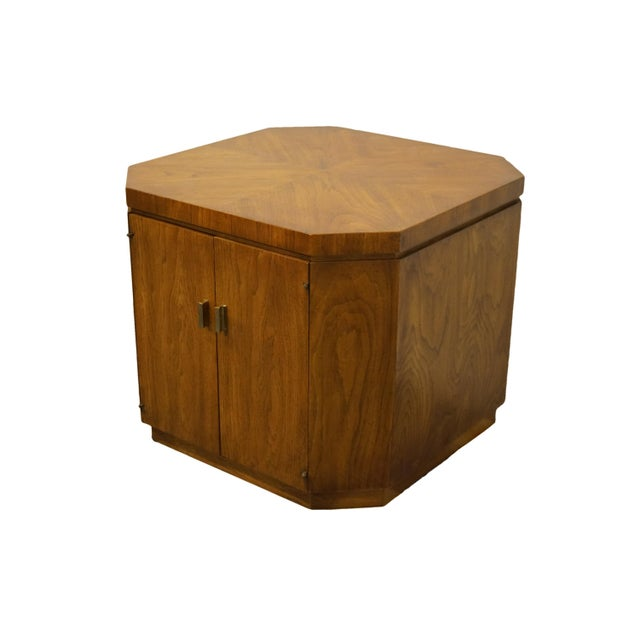 "Drexel Heritage Drexel Furniture Consensus Collection Contemporary Modern 26"" Bookmatched Walnut Accent Cabinet End Table - 990-370 For Sale - Image 4 of 11"