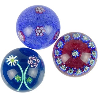 Fratelli Toso Murano Blue Millefiori Flower Italian Art Glass Paperweights - Set of 3 For Sale