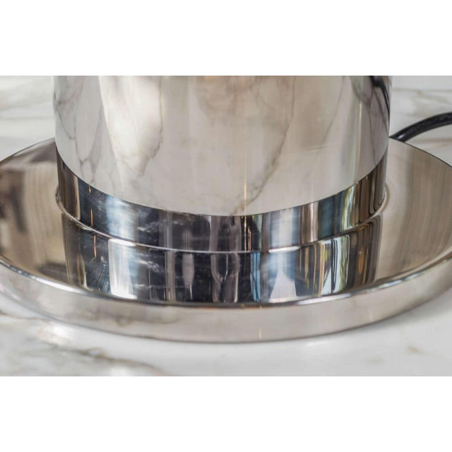 Hollywood Regency Stainless Steel Table Lamp Attributed to Willy Rizzo For Sale - Image 3 of 10