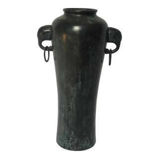 Chinese Bronze Double Elephant Handle Vase For Sale