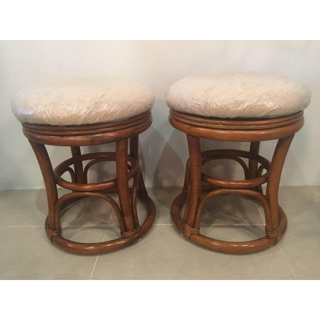 Vintage Tropical Palm Beach Rattan Stools Benches - a Pair For Sale In West Palm - Image 6 of 10