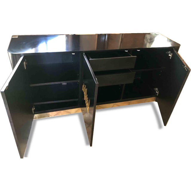 1970s Hollywood Regency Black and Gold Mirror Scribble Credenza For Sale - Image 9 of 12