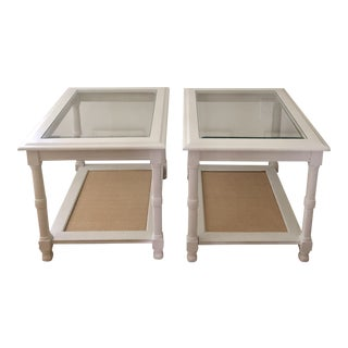 1980s Regency Chinoiserie Palm Beach Cane and Beveled Glass Refinished White and Natural Nightstands/Sidetables - a Pair For Sale