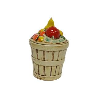 Vintage MC Coy Fruit Harvest Ceramic Basket Cookie Jar For Sale