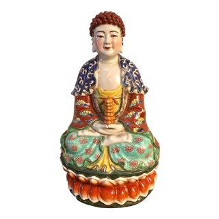 Republic Period Chinese Porcelain Buddha Figure For Sale