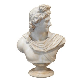 Antique Italian Marble Bust of Apollo by Cesare Lapini For Sale
