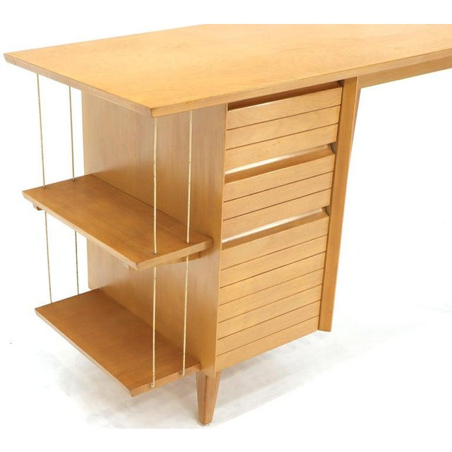 Light Birch Single Pedestal Petit Desk With Bookcase and Three Drawers For Sale - Image 9 of 12
