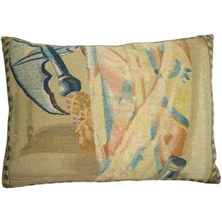 17th Century Antique Brussels Tapestry Pillow For Sale