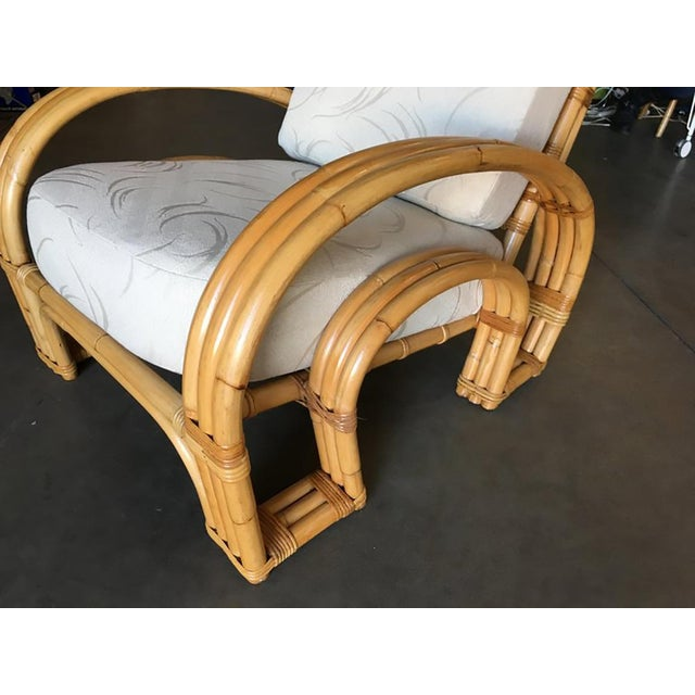 "Mid-Century Modern Restored ""Double Horseshoe"" Rattan Three-Strand Lounge Chair For Sale - Image 3 of 9"