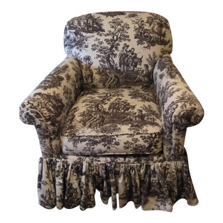 Black & Antique White Country French Toile Chair For Sale