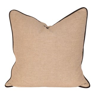 Heavy Linen Pillow With Leather Welting For Sale