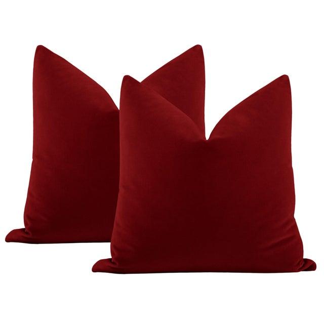 "Not Yet Made - Made To Order 22"" Crimson Italian Velvet Pillows - a Pair For Sale - Image 5 of 5"