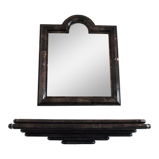 1920s Mid-Century Modern Goatskin Wall Mount Console and Mirror - 2 Pieces For Sale