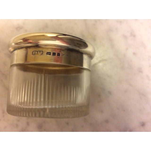 Antique Cobalt Enamel on Silver Crystal Powder Jar For Sale In Greenville, SC - Image 6 of 9