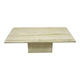 Italian Travertine Stone Rectangular Modernist Modern Coffee Table For Sale