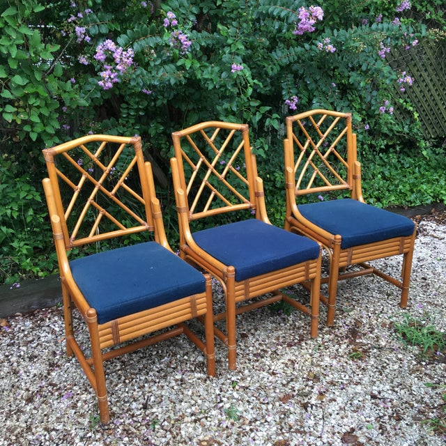 Boho Chic Chippendale Bamboo Side Chairs - Set of 3 For Sale - Image 3 of 11