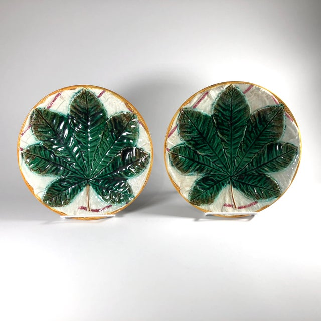 19th Century Aesthetic Movement George Jones Majolica Chestnut Leaf Plates - a Pair For Sale In Cleveland - Image 6 of 6