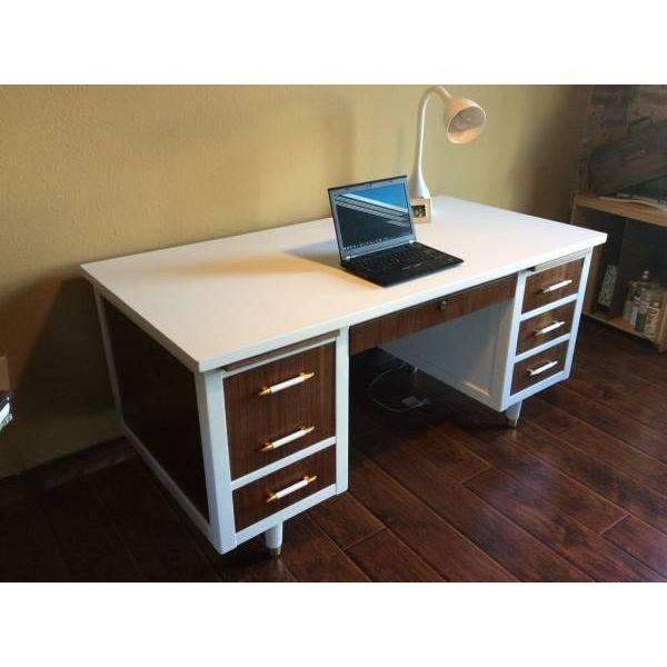 Bianca Mid Century Modern White & Walnut Desk - Image 4 of 4