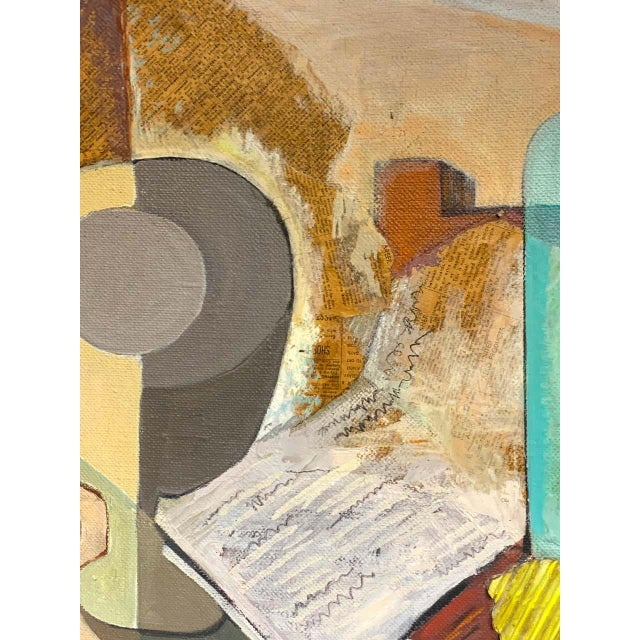 Mid-Century Mixed-Media Cubist Still Life Oil on Canvas For Sale In West Palm - Image 6 of 11