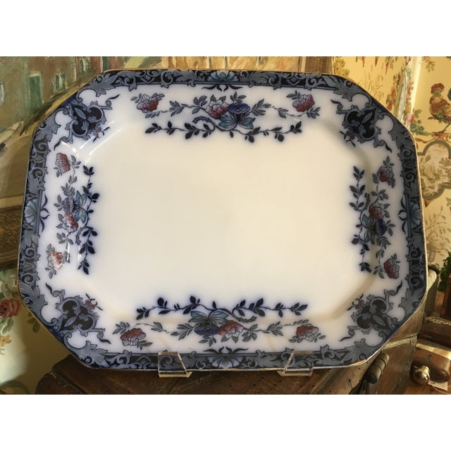 Late 20th Century English Staffordshire Style Ironstone Blue & White Platter For Sale - Image 13 of 13