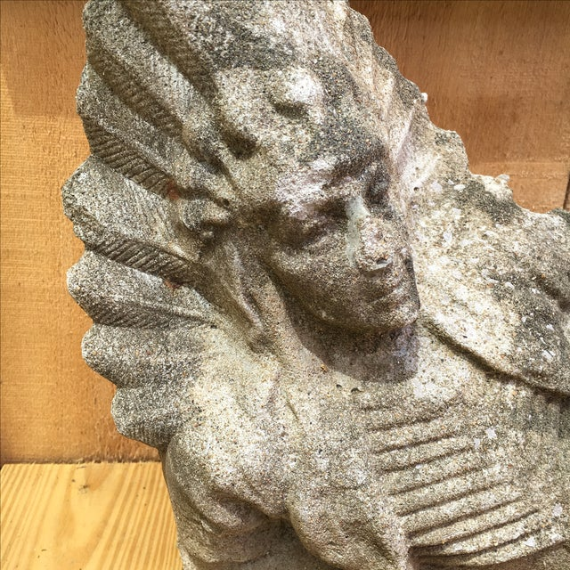Boho Chic Antique Concrete Indian Chief Lawn Statue For Sale - Image 3 of 11
