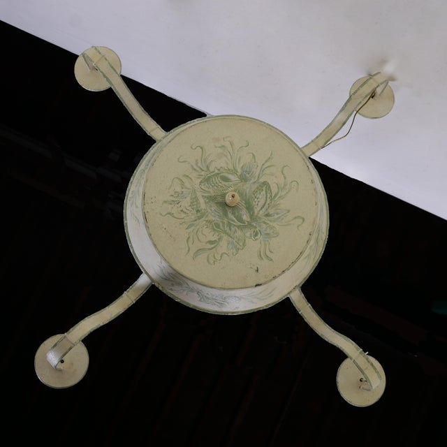 Art Deco 4 Arms French Ceiling Chandelier, Off White With Hand Painted Soft Green Floral/Leave Design For Sale - Image 3 of 6
