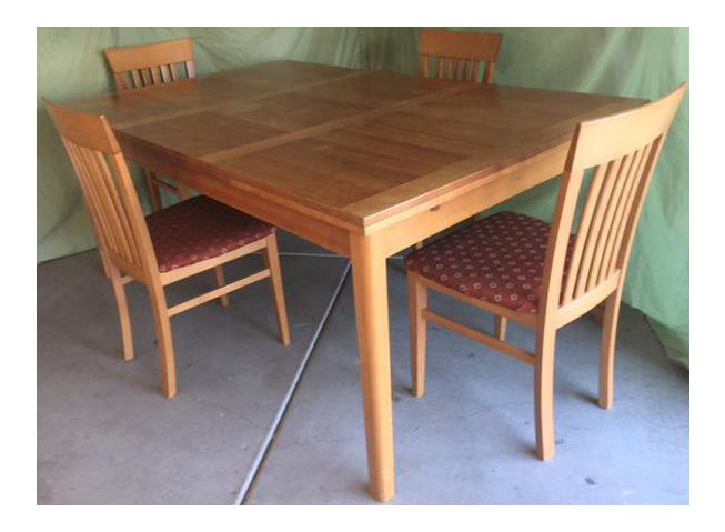 Vintage Ansager Danish Teak Extension Table U0026 Four Chairs