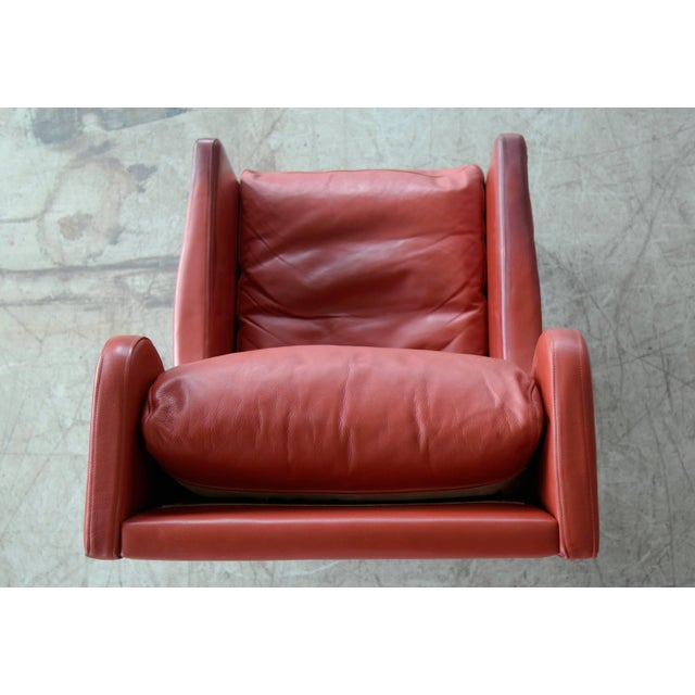 Svend Skipper Danish Wingback Armchair and Ottoman Model Admiral in Red Leather For Sale In New York - Image 6 of 10