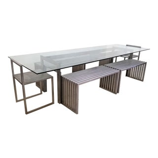 Philip Plein Steel Dining Set - Set of 7 For Sale