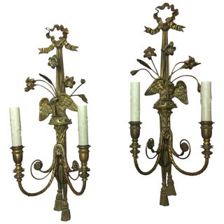 Pair of Two Light Bronze and Eagle Motif Sconces, Late 19th Century For Sale